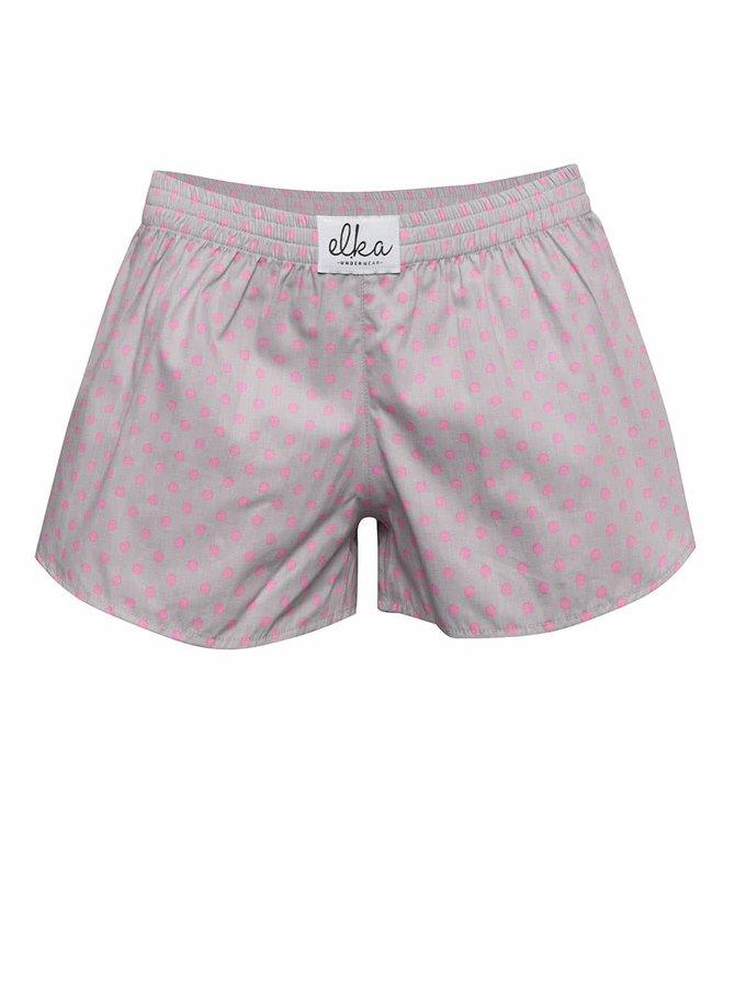 Sivé dámske trenírky s ružovými bodkami El.Ka Underwear