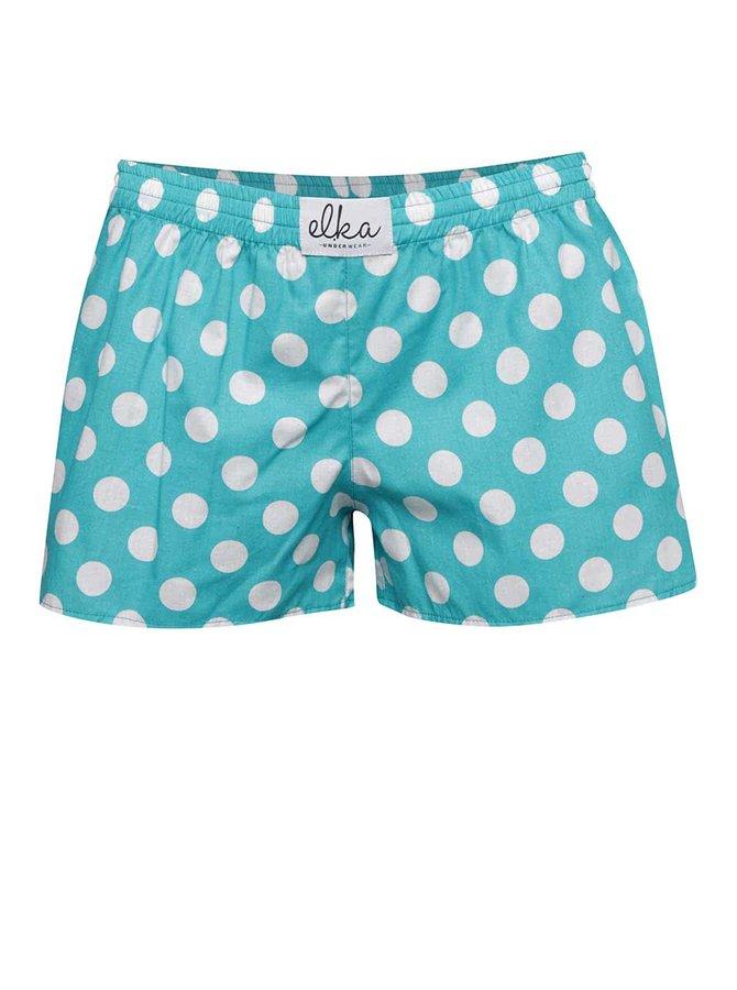 Tyrkysové dámské trenýrky s bílými puntíky El.Ka Underwear