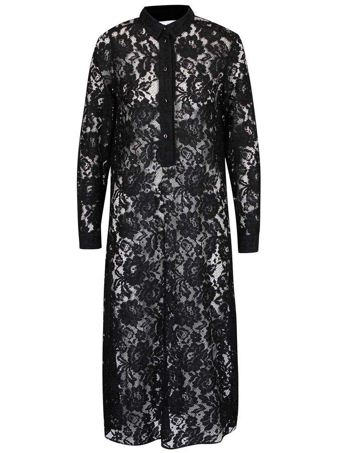 Čierne čipkované priesvitné šaty s golierikom Closet