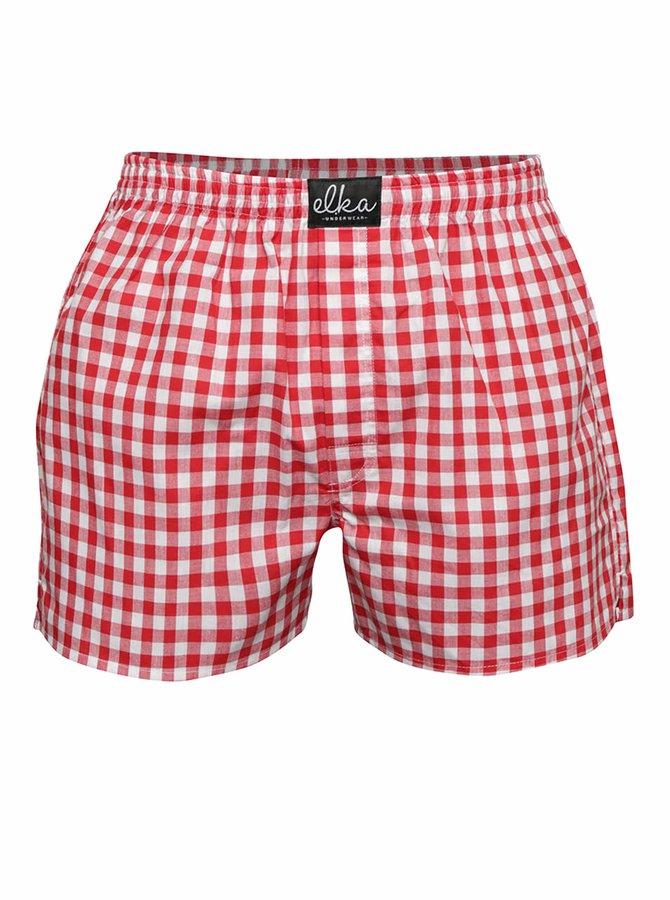 Bielo-červené pánske kockované trenírky El.Ka Underwear