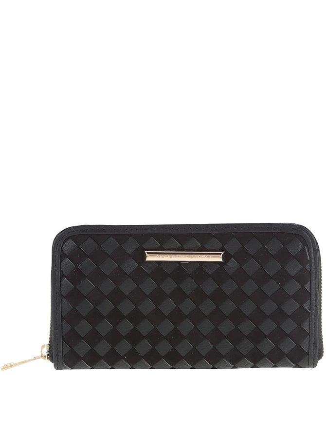 Černá koženková peněženka s proplétaným vzorem Dorothy Perkins