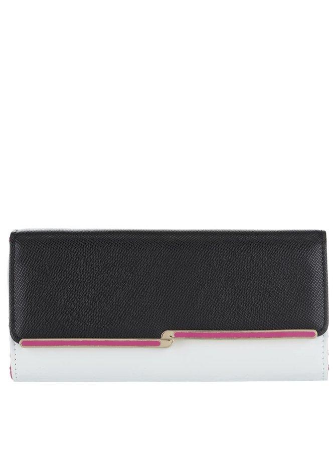 Bílo-černá koženková peněženka s růžovou sponou Dorothy Perkins