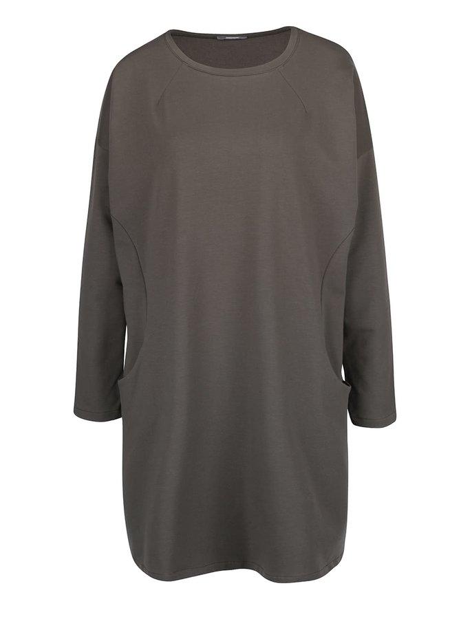 Kaki voľné šaty s vreckami a dlhými rukávmi ZOOT