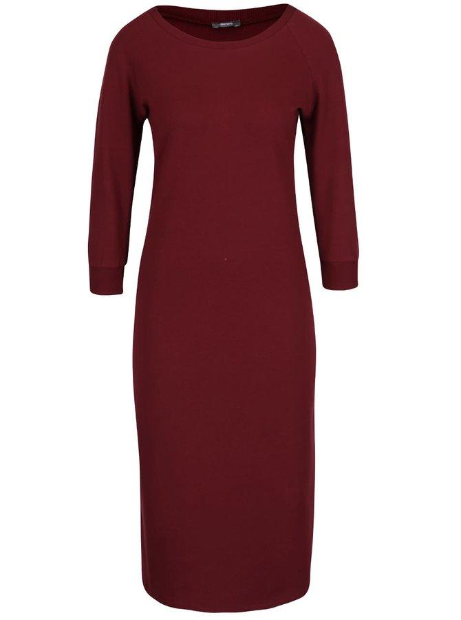 Vínové elastické šaty s 3/4 rukávmi a rozparkom ZOOT