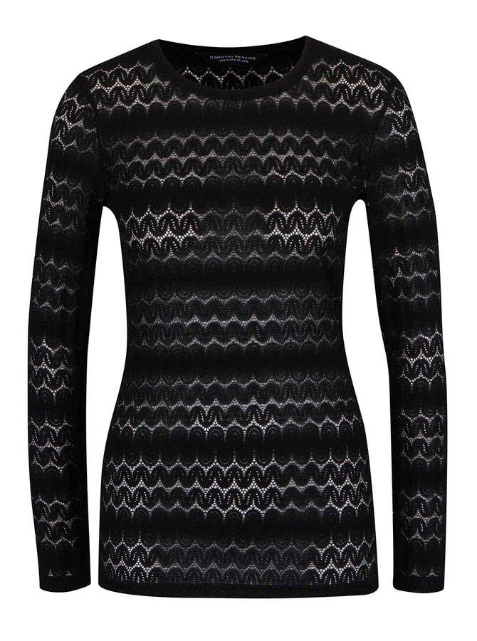 Černé průsvitné tričko se vzorem a dlouhým rukávem Dorothy Perkins
