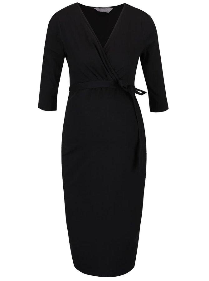 Černé těhotenské šaty s překládaným výstřihem Dorothy Perkins Maternity