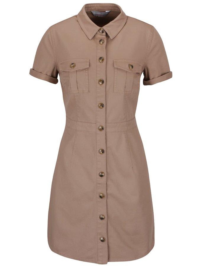 Hnědé propínací šaty s límečkem Dorothy Perkins Petite