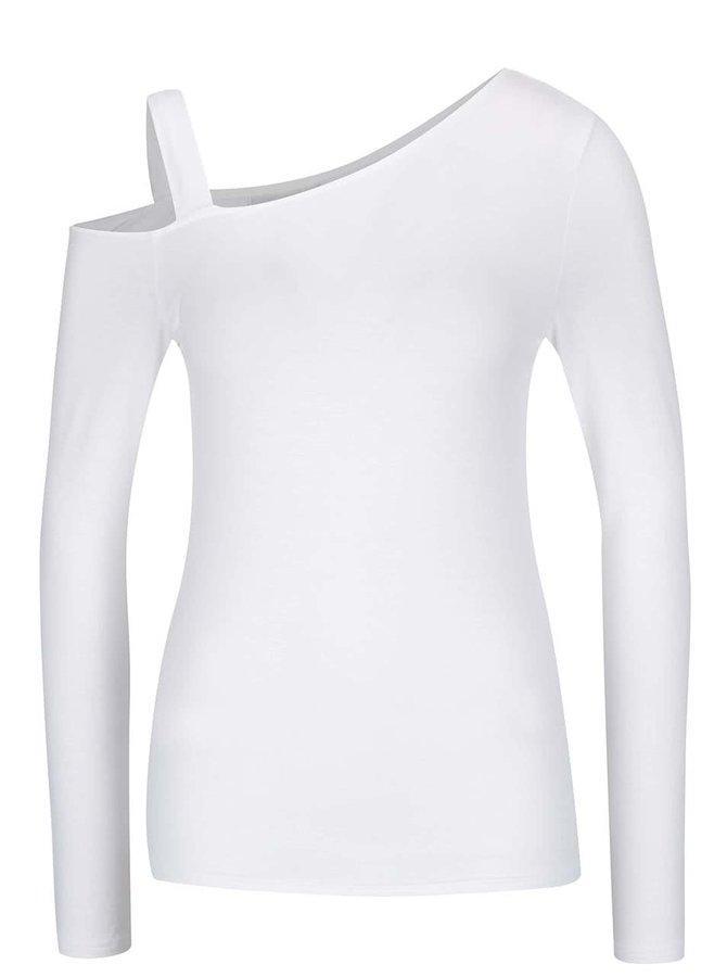 Krémové asymetrické tričko s odhaleným ramenom Noisy May Fame