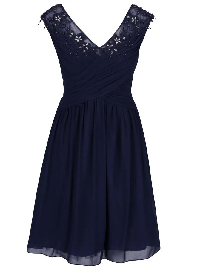Tmavě modré šaty s vyšitými květy a kamínky Dorothy Perkins