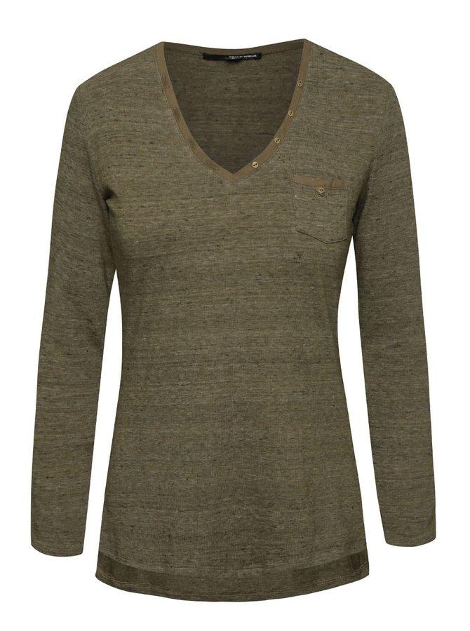 Kaki melírované tričko s vreckom TALLY WEiJL