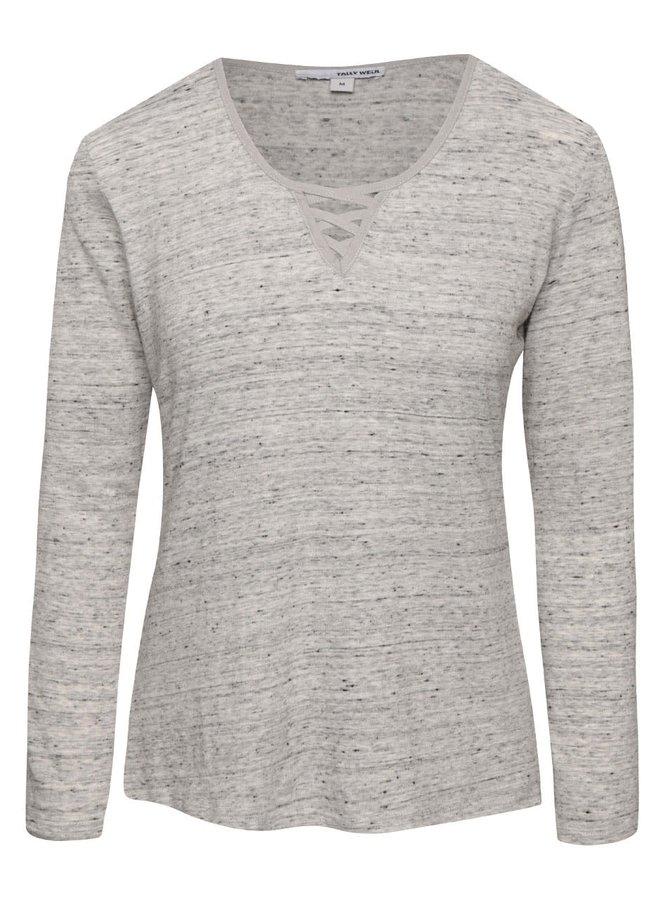Sivé melírované tričko s okrúhlym výstrihom TALLY WEiJL