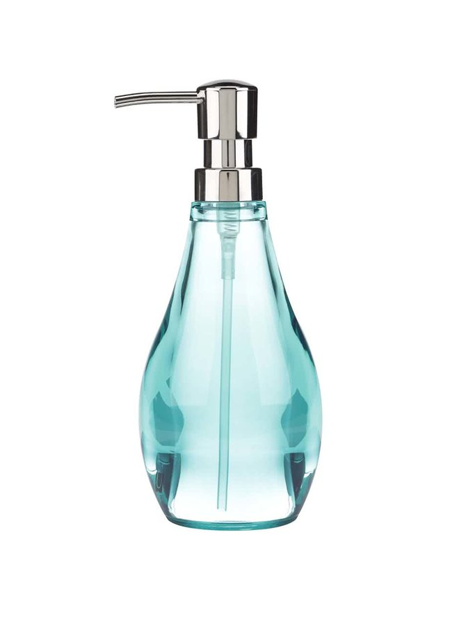 Průhledný dávkovač na mýdlo v tyrkysové barvě Umbra Droplet