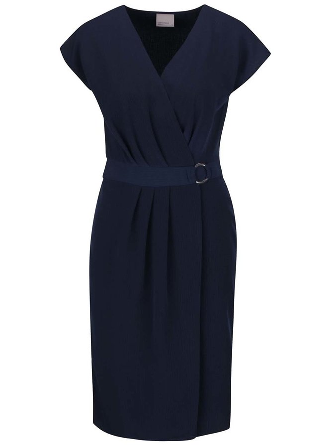 Tmavomodré šaty s prekladaným výstrihom a sukňou VERO MODA Moline