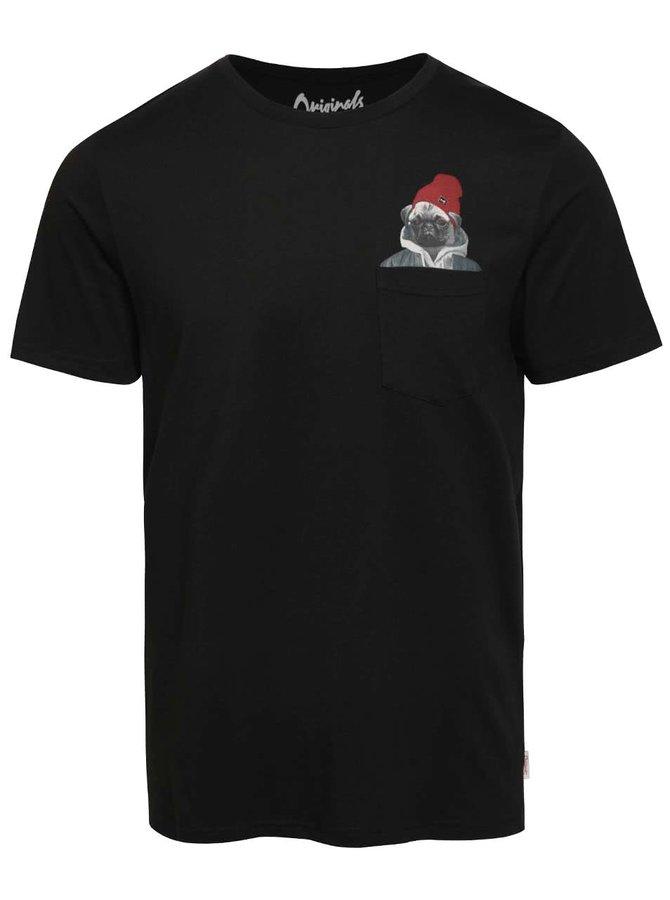 Černé triko s potiskem v kapse Jack & Jones Pocket