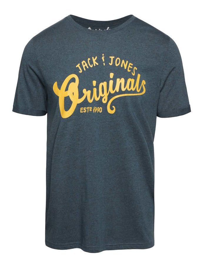 Petrolejové žíhané triko s potiskem Jack & Jones Grindle