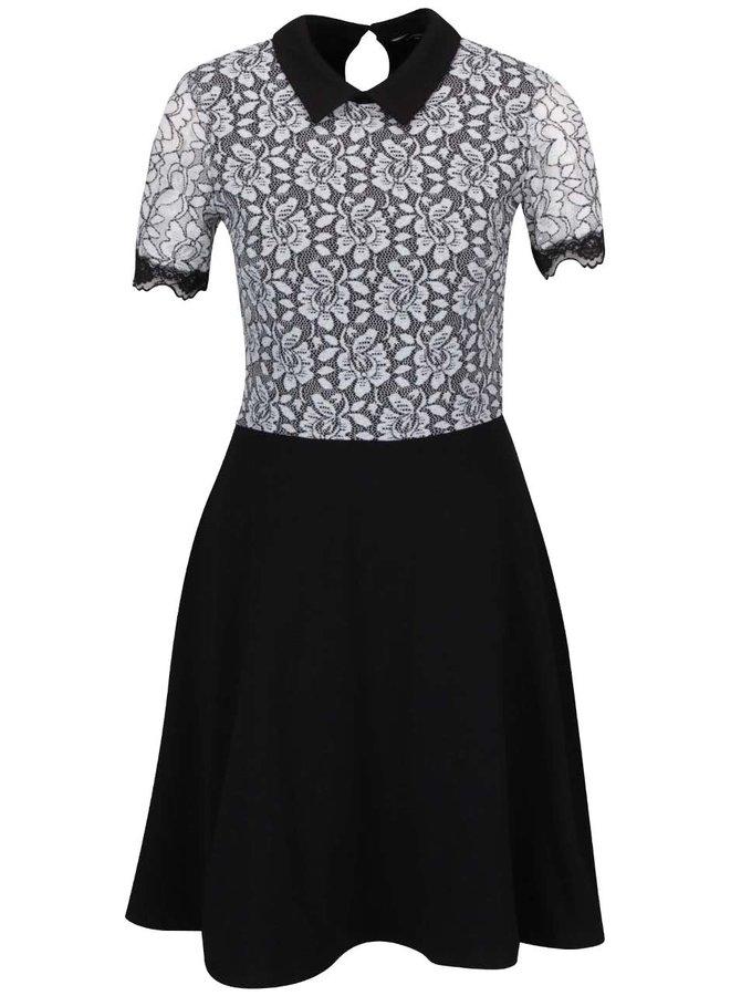 Černé šaty s krémovou krajkou Dorothy Perkins