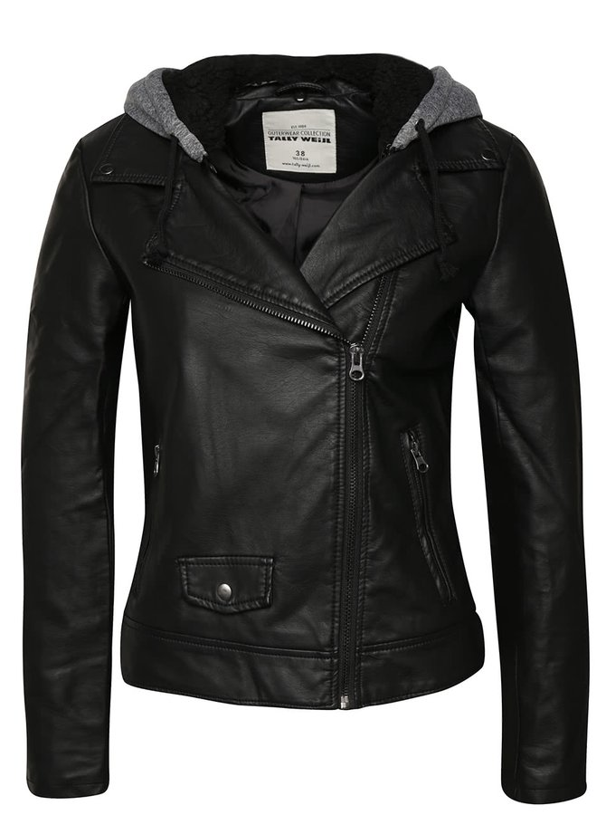 Čierna koženková bunda s odopínateľnou kapucňou TALLY WEiJL