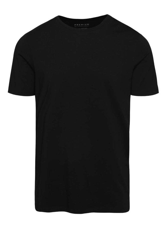 Černé basic triko s krátkým rukávem Jack & Jones Pima