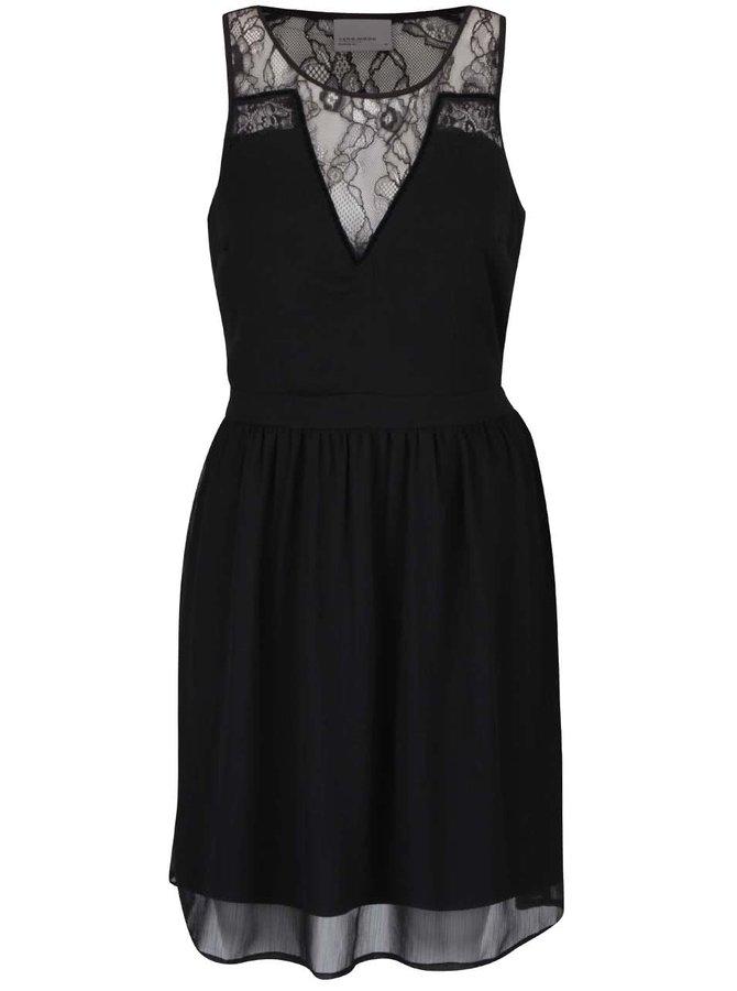 Černé šaty s krajkovým dekoltem a zády VERO MODA New Jollace