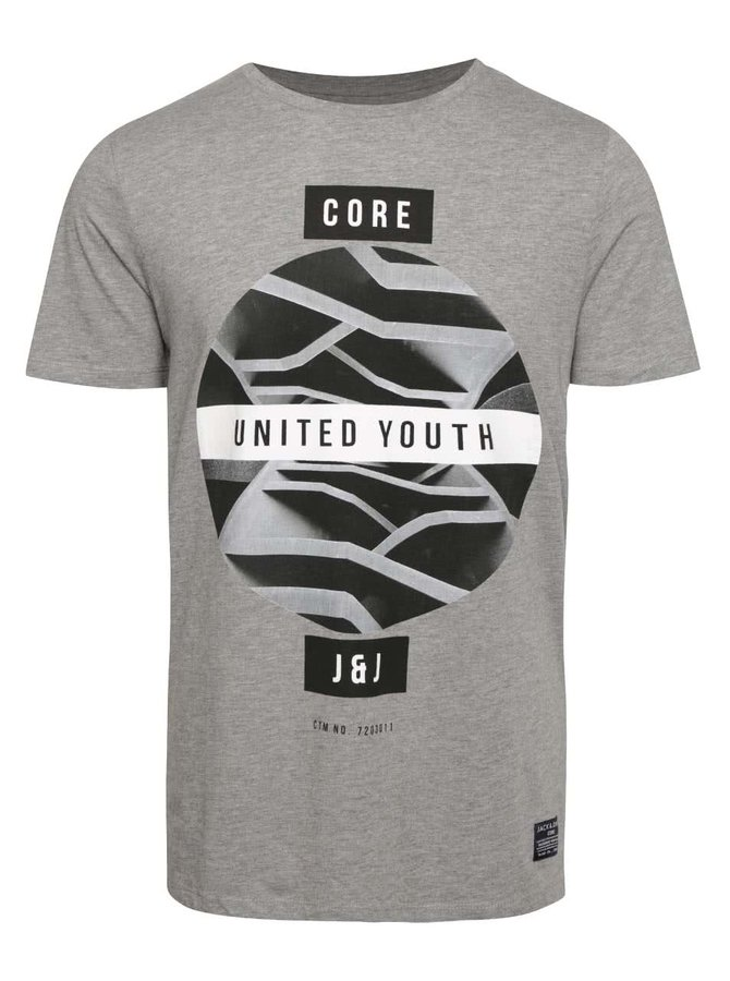Sivé tričko s potlačou Jack & Jones Zen