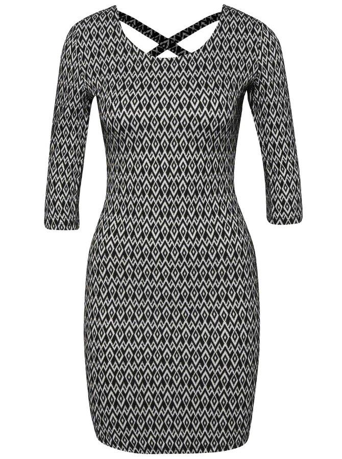 Bielo-čierne vzorované šaty s 3/4 rukávom TALLY WEiJL