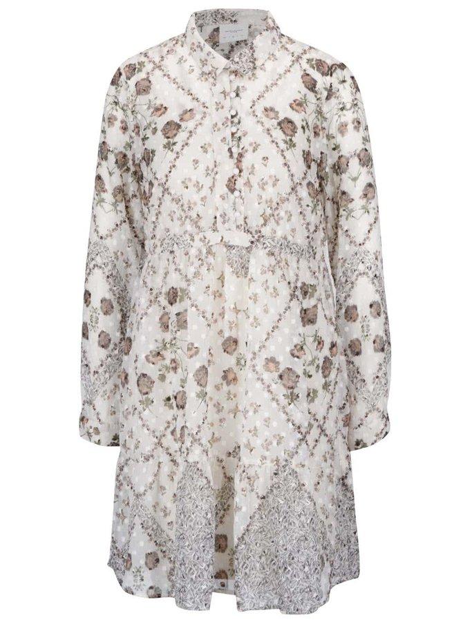 Krémové volnější květované průsvitné šaty s knoflíky a spodničkou VERO MODA Lucy