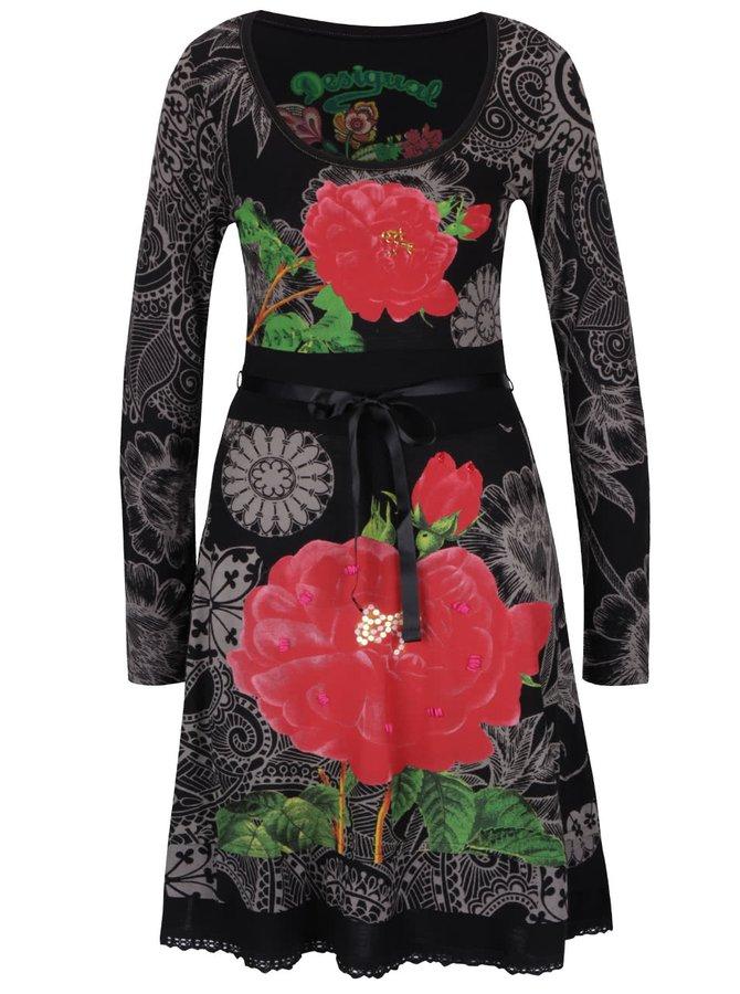 Rochie neagră Desigual Robert cu imprimeu floral