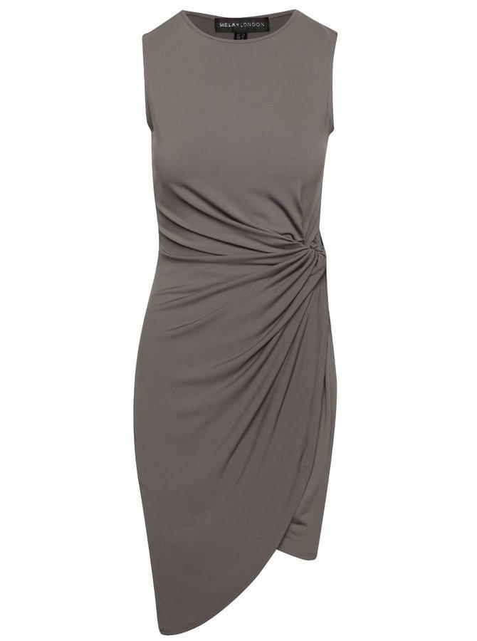 Tmavě šedé asymetrické šaty s rozparkem na boku Mela London