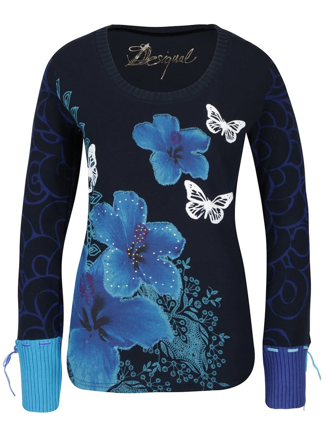 Modré tričko s dlouhými pletenými rukávy Desigual Thalia