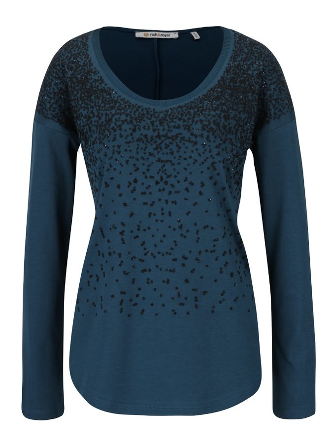 Bluză albastru petrol  Rich & Royal cu ștrasuri negre