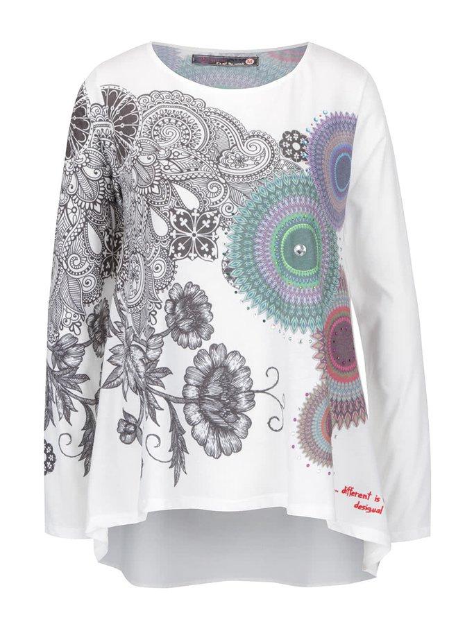 Krémové tričko s potiskem mandal a s kamínky Desigual Angela