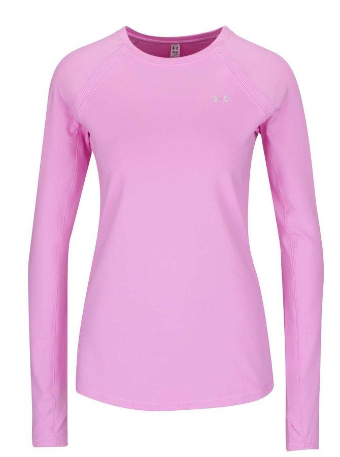 Ružové dámske funkčné tričko s dlhým rukávom Under Armour ColdGear Armour Crew