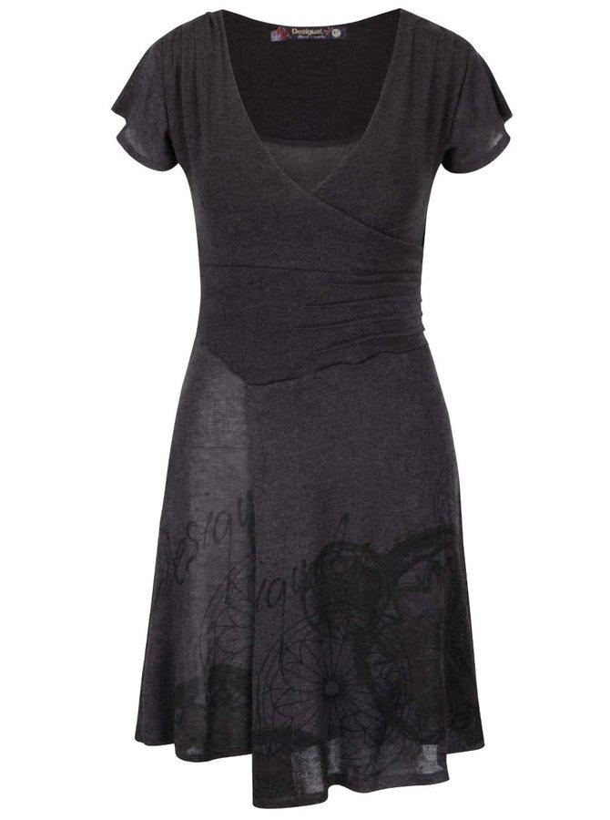 Šedé šaty s překládaným výstřihem Desigual Rhianne