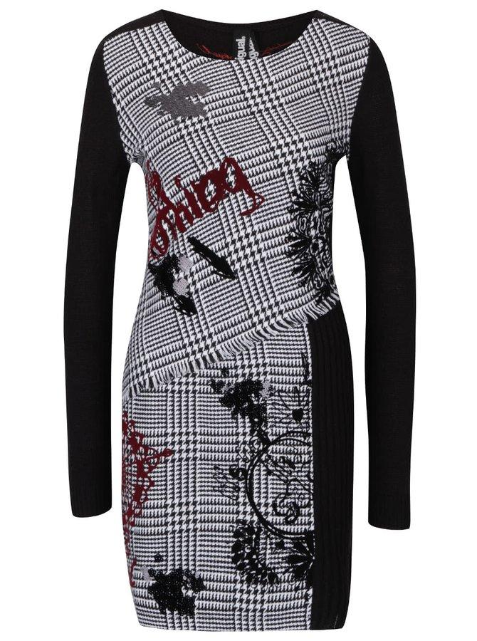 Černo-bílé vzorované svetrové šaty Desigual Madrid