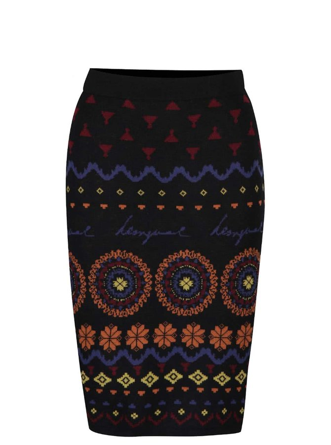 Černá sukně s barevným vzorem Desigual Roxi