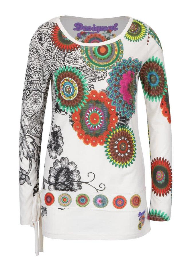Krémové tričko s barevným potiskem květin Desigual Calima