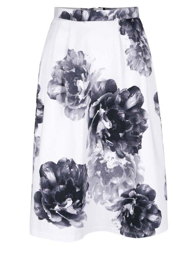 Čierno-krémová kvetovaná midi sukňa Dorothy Perkins