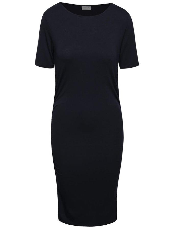 Tmavě modré šaty s krátkým rukávem a řasením na bocích VILA Mile