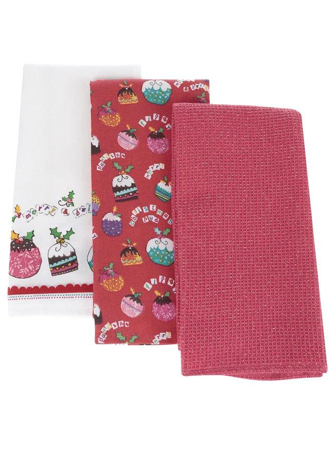 Sada tří růžovo-červených utěrek s vánočním motivem Cooksmart Winter Pudd
