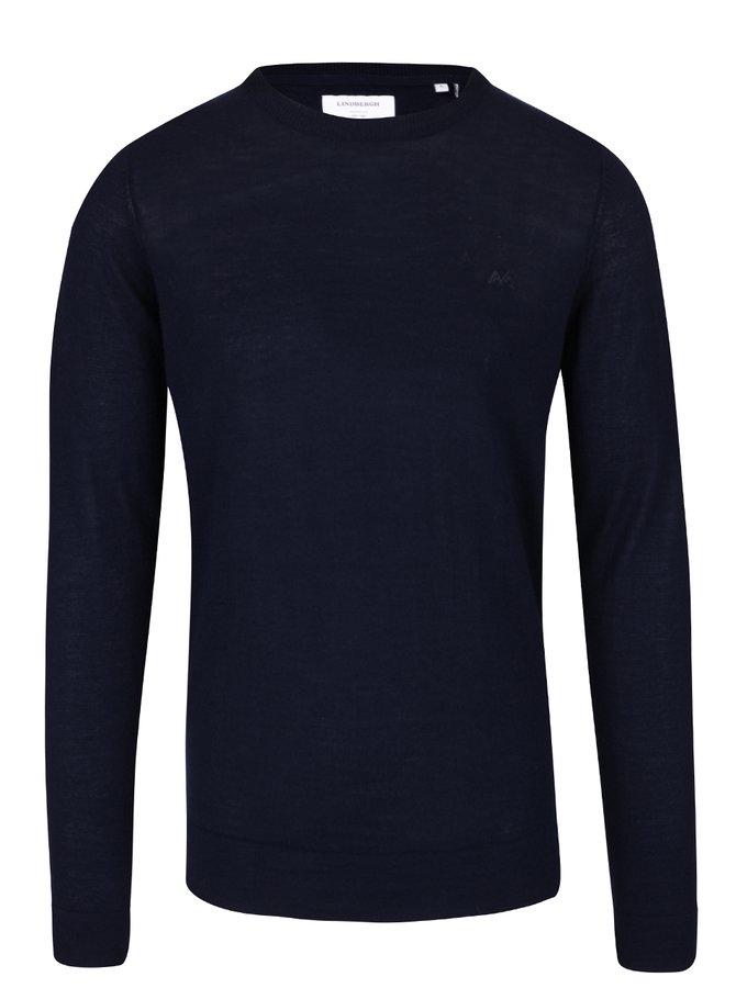 Tmavě modrý lehký vlněný svetr s dlouhým rukávem Lindbergh