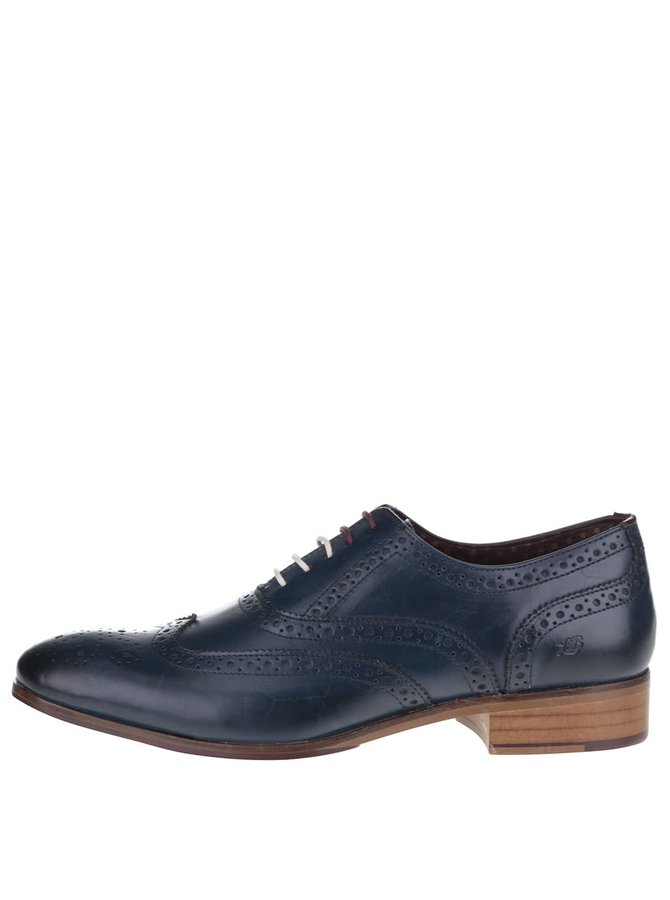 Pantofi albaștri London Brogues din piele