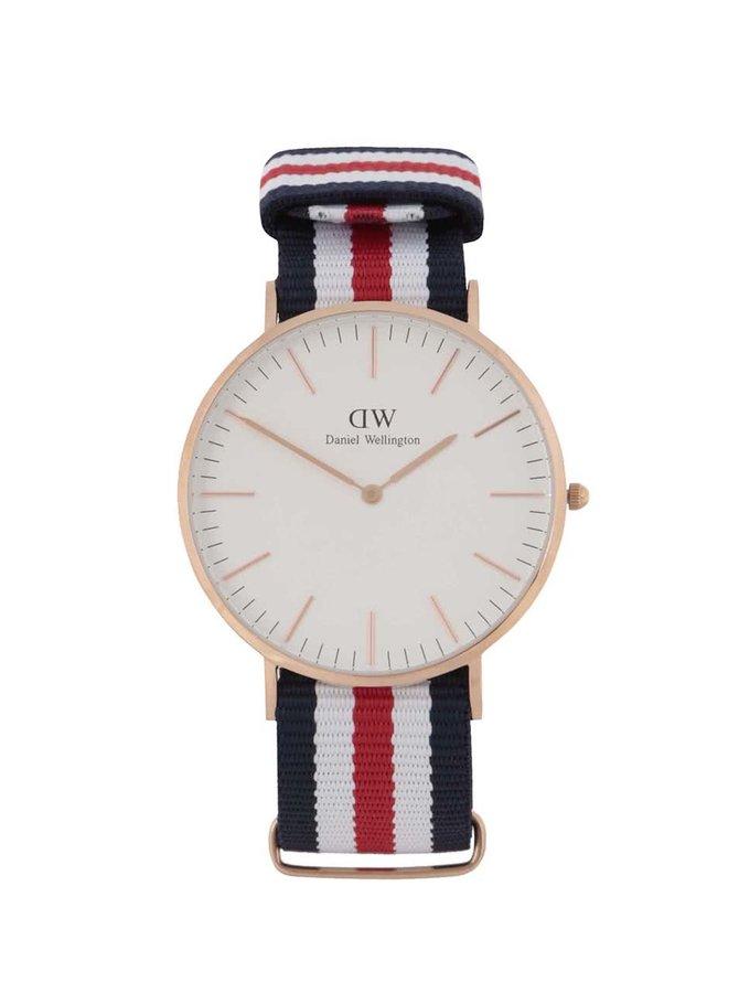 Červeno-modré pánske hodinky CLASSIC Cantebury Daniel Wellington