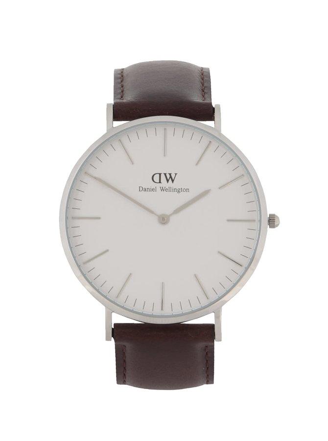 Hnědé pánské hodinky s koženým páskem CLASSIC Bristol Daniel Wellington