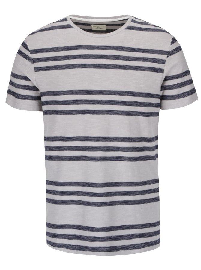 Svetlosivé tričko s modrými pruhmi Selected Homme Kris