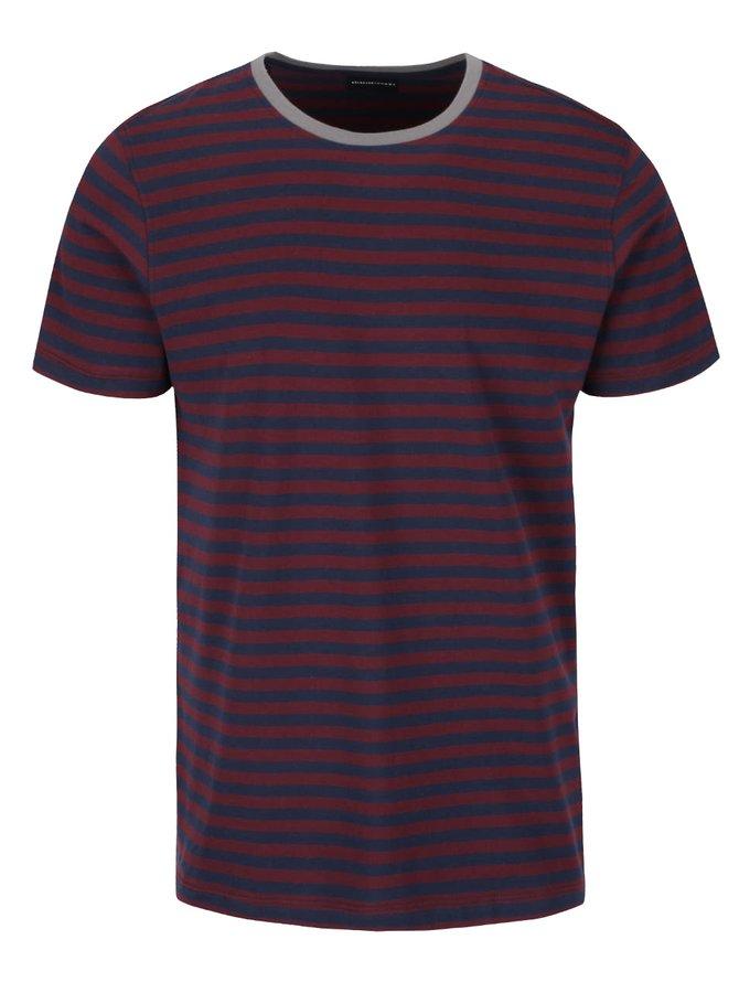 Modro-vínové pruhované triko Selected Homme Magnus