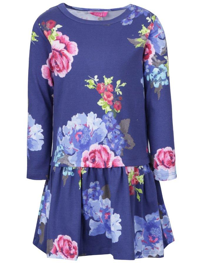 Modré dievčenské šaty s kvetmi a dlhým rukávom Tom Joule Paula