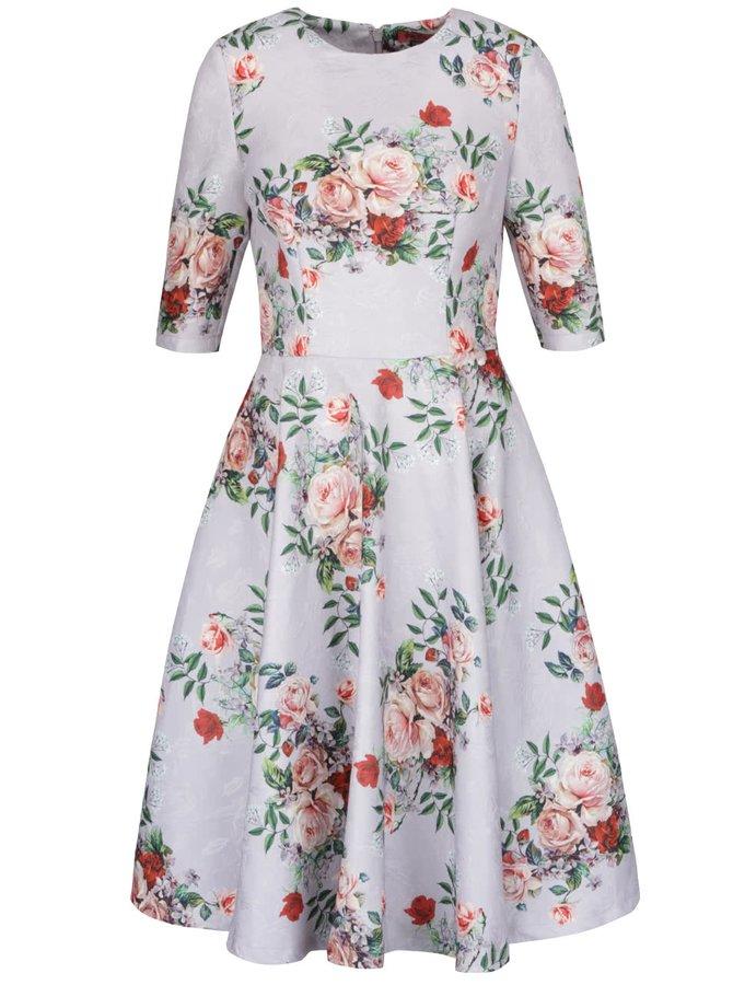 Světle šedé květované šaty s 3/4 rukávy Chi Chi London