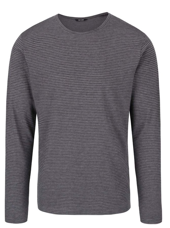 Tmavě šedé triko s dlouhým rukávem ONLY & SONS Aron