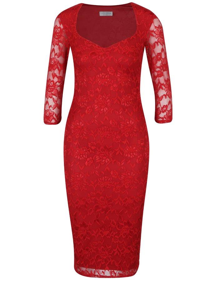 Červené krajkové šaty Goddiva