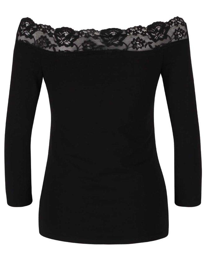 Černé tričko s krajkovaným lemem a 3/4 rukávy Dorothy Perkins